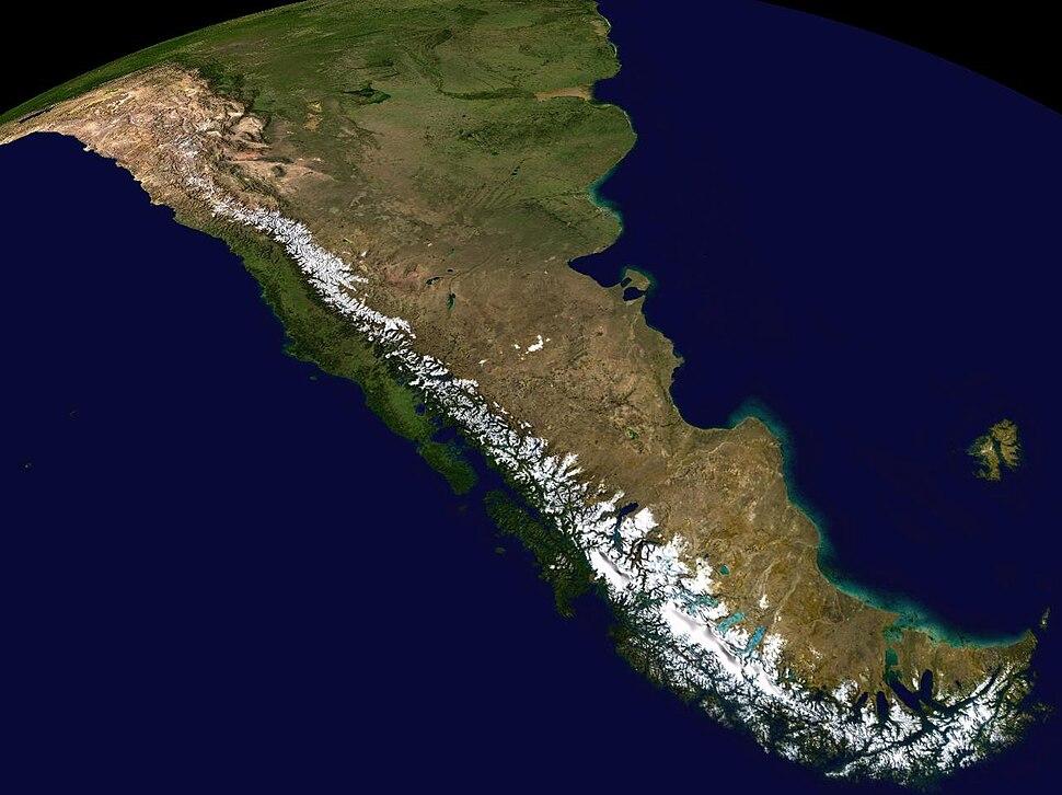 Ảnh vệ tinh tổ hợp màu khu vực nam Andes