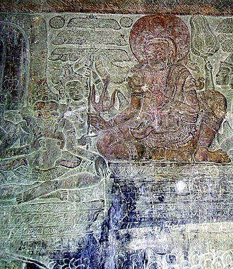 Vyasa - Vyasa narrating the Mahabharata to Ganesha, his scribe, Angkor Wat.