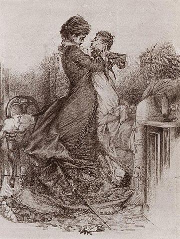 Свидание Анны Карениной с сыном. 1878, коричневая бумага, тушь