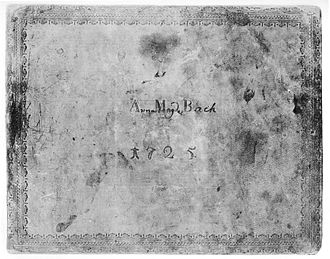 Notebook for Anna Magdalena Bach - Cover of the second (1725) Notebook for Anna Magdalena Bach