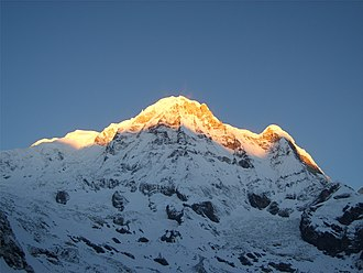 Annapurna Massif - Annapurna South from Annapurna Base Camp (4,130 m) before sunrise.