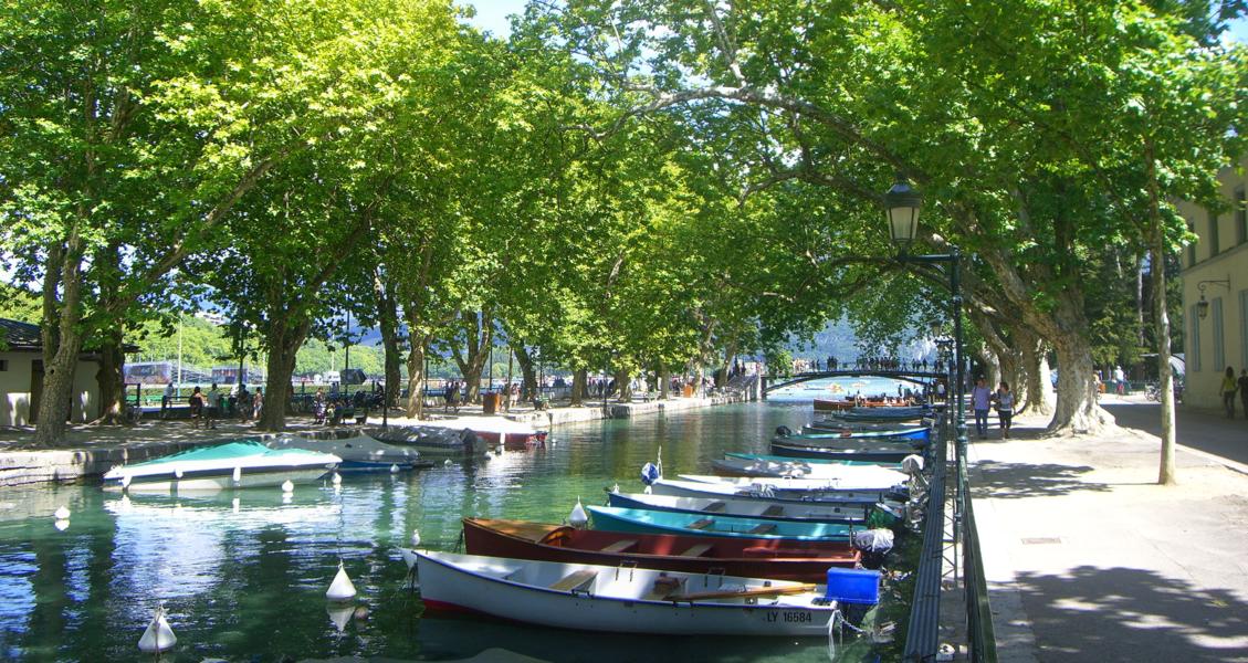 Canal du Vassé, bordé par le quai Jules Philippe et la promenade Jacquet, avec en arrière plan le Pont des Amours