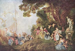 1721 in art - Pilgrimage to Cythera by Jean-Antoine Watteau, captures the frivolity and sensuousness of Rococo painting. (1721, Louvre)
