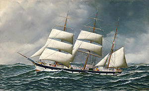 Antonio Jacobsen - The Norwegian bark Friedig at sea under reduced sail.jpg