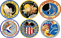 Composite image of 6 production crewed Apollo lunar landing mission patches, from Apollo 12 to Apollo 17.