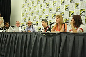 Archer (TV series) - From left to right: Aisha Tyler, Adam Reed, H. Jon Benjamin, Chris Parnell, Judy Greer and Amber Nash at Comic-Con International in 2010