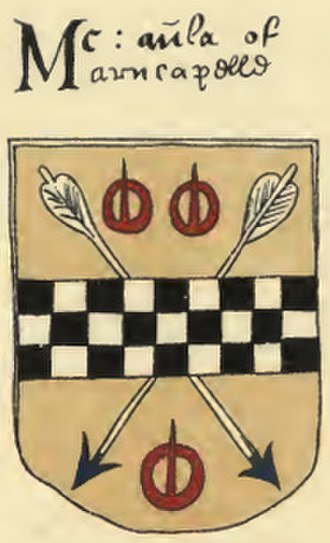 "Clan MacAulay - Note the similarity to various Stewart arms: ""... branches of the Stewart family bear the basic coat with suitable difference. Thus Stewart of Barscube, near Barrochan, bears Or, a fess chequy azure and argent between three buckles gules""."