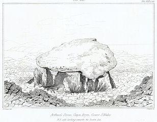 Arthur's Stone, Cevyn Bryn, Gower, S.Wales: N.E. side looking towards the Severn sea