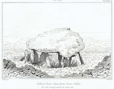 Arthur's Stone, Cevyn Bryn, Gower, S.Wales - N.E. side looking towards the Severn sea.jpeg