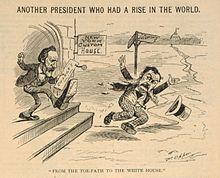 Cartoon of one man kicking another out of a building