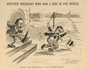 Chester A. Arthur - A cartoon depicting President Rutherford B. Hayes kicking Arthur out of the New York Custom House