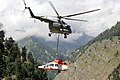 As part of the ongoing 'Op-Rahat' the IAF airlifted a Pawan Hans helicopter out of Harshil by a Mi-17 V5 on September 04, 2013.jpg