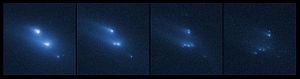 Main-belt comet - Image: Asteroid P2013 R3 breaks apart