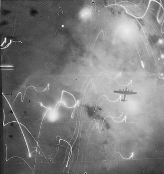 Bombing of Hamburg in World War II - Lancaster over Hamburg, 30/31 January 1943