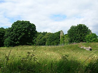 Auchans Castle, Ayrshire - The view of the castle and old flower garden area from the walled garden.