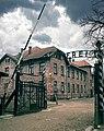 """Auschwitz main gate (with """"Arbeit macht frei"""" sign), 2014.jpg"""