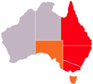 Eastern states of Australia - The Eastern Australian states. States in red are always defined as eastern. The term can sometimes be applied to the states in orange
