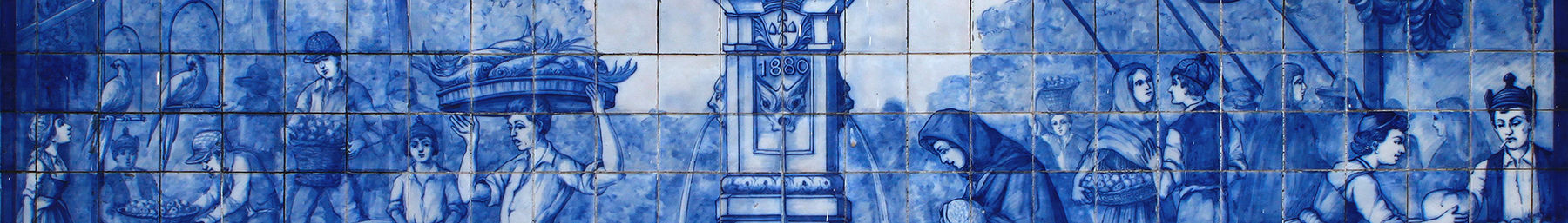 Ceramic tiles (Azulejo) at the wall of the Mercado dos Lavradores, Funchal