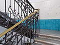 Azur color, original Zsolnay (100+ years) embossed ornamental tiles. Decorative wrought iron railing - Budapest, District 5. Március 15. Sq -7.JPG