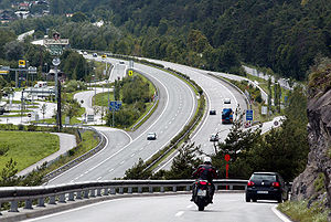 Inn Valley Autobahn - E 60 as Inntal Autobahn A12 near Innsbruck in Austria