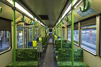 B-class Melbourne tram - Interior of a B2-class before modification in November 2013