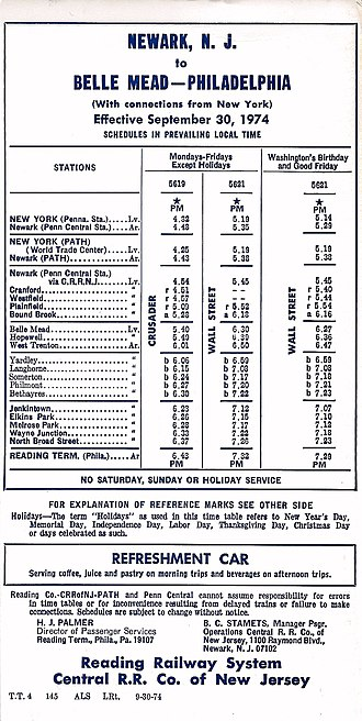 West Trenton Line (SEPTA) - Passenger Schedule (eff. 1974-09-30) of Reading Railway and Central of New Jersey joint service between Newark, N.J. and Phila. Reading Terminal via Belle Mead, N.J. on today's SEPTA West Trenton Line and NJT Raritan Valley Line.