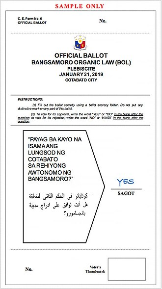 2019 Bangsamoro Autonomous Region creation plebiscite - Ballot paper samples for the plebiscite from left to right: For voters in the ARMM except Basilan, Isabela City in Basilan, the rest of Basilan, and Cotabato City