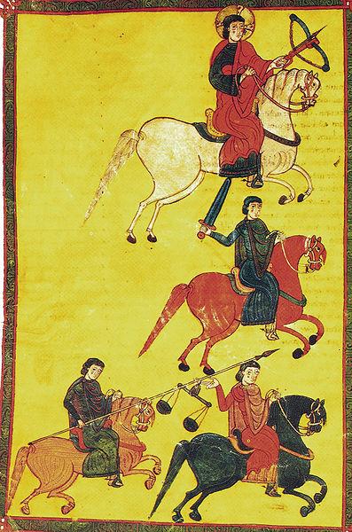 Miniatura de 1086, año de la batalla de Sagrajas. Cuatro jinetes del Apocalipsis. Beato de Osma.