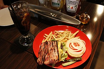Bacon cheeseburger at Upper Café Diner New York, New York in Hiroshima.jpg