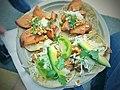 Baja Style Fish taco, Fried rock fish, cabbage, heirloom tomato, avocado, Serrano chile, lime, crema, herbs.jpg