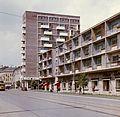 Bajcsy Zsilinszky utca az Ady híd felé nézve, a magas épület a Fórum ház. Fortepan 21151.jpg