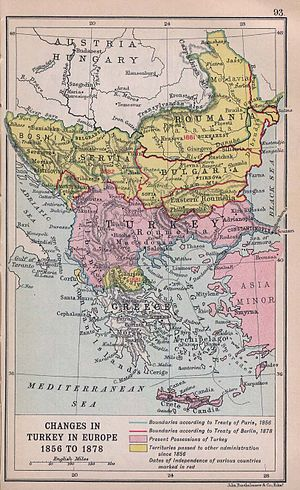 History of the Russo-Turkish wars - Ottoman losses in the Balkans after the Crimean War, from Literary and Historical Atlas of Europe by J. G. Bartholomew, 1912
