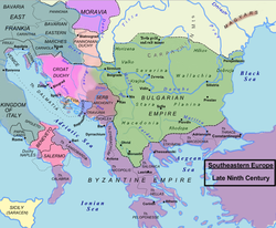 Balkan region c. 850. Duchy of the Croats shaded pink.