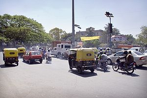 Lane splitting - Traffic in Bangalore, India, 2008