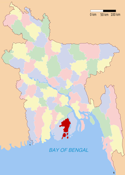 Location of Patuakhali in Bangladesh