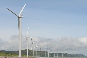Renewable energy in developing countries - Bangui Wind Farm in Ilocos Norte, Philippines