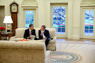 Jon Favreau (speechwriter) - President Barack Obama meets with Jon Favreau, in the Oval Office to review a speech April 14, 2009. Official White House Photo by Pete Souza.