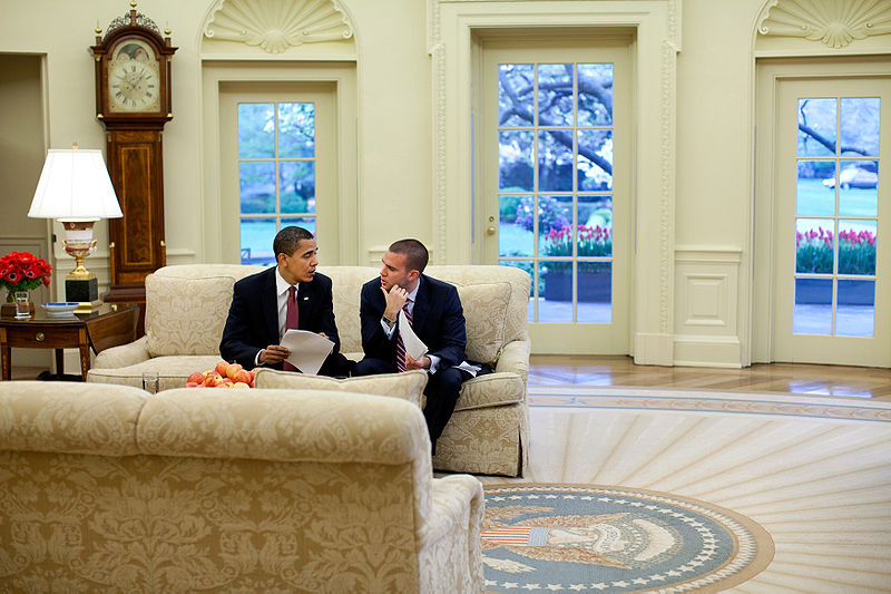 File:Barack Obama and Jon Favreau in the Oval Office.jpg
