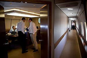 Robert Gibbs - Obama and Gibbs in the conference room of Air Force One in July 2009