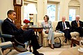 Barack Obama meets with Nancy Pelosi, Steny Hoyer & George Miller 5-13-09.jpg