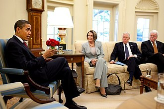 United States House of Representatives - Former House Speaker Nancy Pelosi, Former Majority Leader Steny Hoyer, and Former Education and Labor Committee Chairman George Miller confer with President Barack Obama at the Oval Office in 2009.