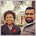 Barbara Lee and Miguel Ayala at the WH on 2013 World AIDS Day.jpg
