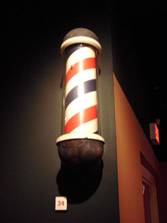 Barber's pole - Barber pole, ca. 1938, North Carolina Museum of History.