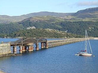 Aberystwith and Welsh Coast Railway - Barmouth Bridge across the River Mawddach estuary near Barmouth.
