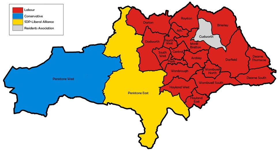 Barnsley UK local election 1982 map