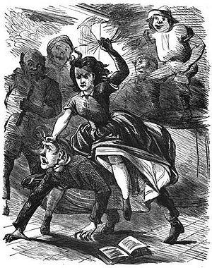"George Washington Harris - Women attack a ""hard-shell preacher"" who tries to break up a dance in Harris's ""Bart Davis's Dance"""