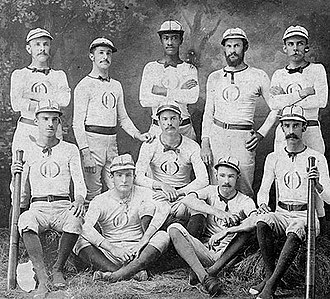 A baseball team and its uniforms in the 1870s. Note that the team is integrated, in contrast to 20th century MLB, which was segregated until 1947. Baseball1870s.jpg
