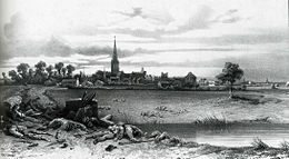 Black and white print shows a town with a church spire in the background while casualties of battle lie in the foreground.