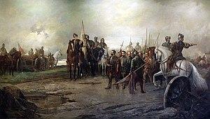 Soldati e cannoni sul campo di battaglia;  un ufficiale su un cavallo bianco indica per dirigere i suoi uomini.