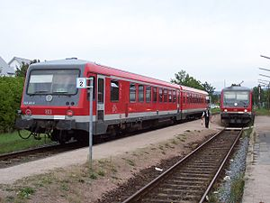 DB Class 628 - 628.2 in traffic red at Lorsch